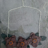 Leather Flower Statement Bib Necklace on Silver Plated Chain Boho Style