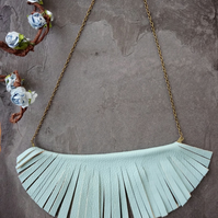 Real Blue Leather Fringe Statement Necklace with Antique Bronze Chain Boho Style