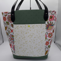 Multicoloured, Floral and green coloured shopper or beach bag