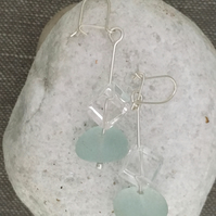 Sea Glass and Rock Crystal Earrings