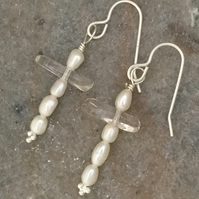 Freshwater Pearl & Rock Crystal Cross Earrings