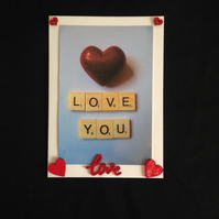 Love you scrabble photo Valentines card.