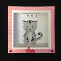 Personalised scrabble Kitten 3D picture.
