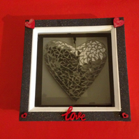 Love heart photo in a box frame, with hand painted wooden hearts and love word.