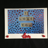 I love you scrabble photo card.