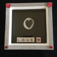 "Heart photo picture with white wooden scrabble tiles saying ""LOVE"""