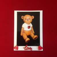 Teddy bear photo card, with hand painted wooden details.