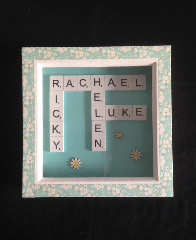 Personlised scrabble picture, with hand painted wooden Daisy's.