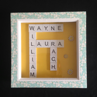 Personlised scrabble picture, with hand painted wooden daisies.