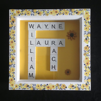 Personlised scrabble sunflower picture,with hand painted wooden sunflowers.