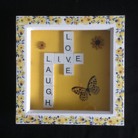 Live,laugh,love scrabble picture with a butterfly & sunflowers.