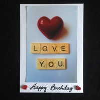 Love you scrabble photo card,With hand painted wooden hearts.