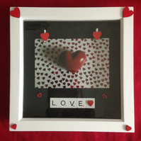 Scrabble photo frame with heart pegs & hand painted wooden hearts.