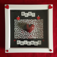 Best friends scrabble photo frame, with wooden details.