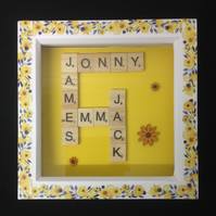 Personlised scrabble picture with sunflowers.