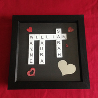 Personlised white wooden scrabble picture with hearts.