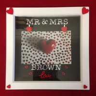 Personalised wedding photo frame with silver writing & wooden details.
