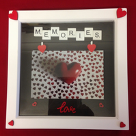 Memories scrabble photo frame,With wooden details.