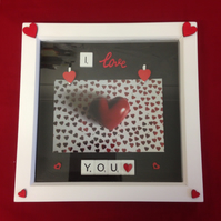 I love you 3D scrabble photo frame, with wooden details.