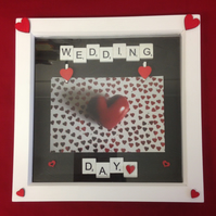 Wedding day scrabble photo frame,With wooden details.