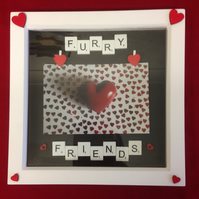 Furry friends scrabble photo frame,with wooden details.