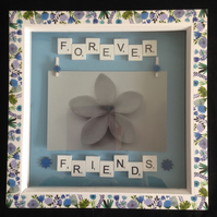 Forever friends scrabble photo frame with hand painted wooden flowers.