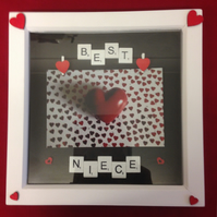 Best niece scrabble photo frame, with hand painted wooden hearts.