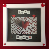 Best Gran scrabble photo frame with wooden hearts.