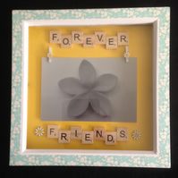 Forever friends scrabble photo frame,With hand painted wooden flowers.