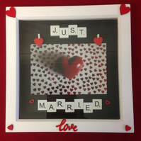 Just married scrabble photo frame with hand painted wooden hearts & wooden pegs.
