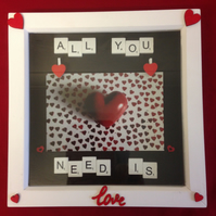 All you need is love, scrabble photo frame with hand painted wooden details.