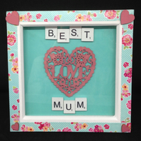 Best Mum scrabble picture with hand painted wooden hearts.