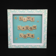 Live,laugh,love scrabble picture with hand painted wooden daisies.