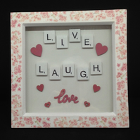 Live, Laugh, Love scrabble 3D picture.