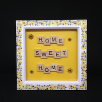 Home sweet home scrabble & sunflower picture.
