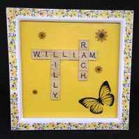 Personalised wooden scrabble picture, with butterfly & sunflowers.