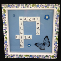 Personalised scrabble picture,With a butterfly & wooden hand painted flowers.