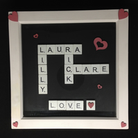 Personalised scrabble picture with hand painted wooden hearts & love word.
