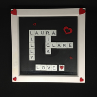 Personalised scrabble picture with hand painted wooden hearts.