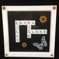 Personalised scrabble picture, with butterfly & sunflowers.