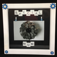 Special Mum, scrabble photo frame, with hand painted wooden flowers.