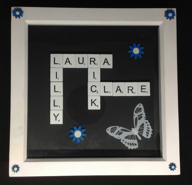 Personalised scrabble picture,with with butterfly & wooden flowers.