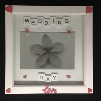 Wedding day scrabble photo frame, with hand painted wooden hearts.