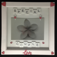 Special couple, scrabble photo frame with hand painted wooden details.