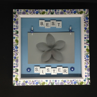 Best Sister scrabble photo frame,With hand painted wooden flowers.