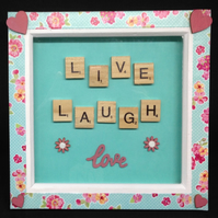 Live,laugh,love 3D scrabble picture with hand painted wooden hearts.