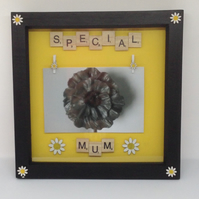 Special Mum scrabble photo frame with wooden daisies.