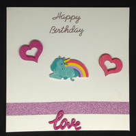 Unicorn with rainbow Birthday card, With hand painted wooden details.