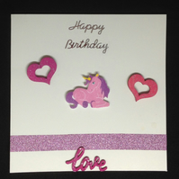 Unicorn Happy Birthday card, with hand painted wooden details.