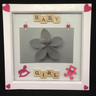 Baby Girl, scrabble photo frame with wooden details.